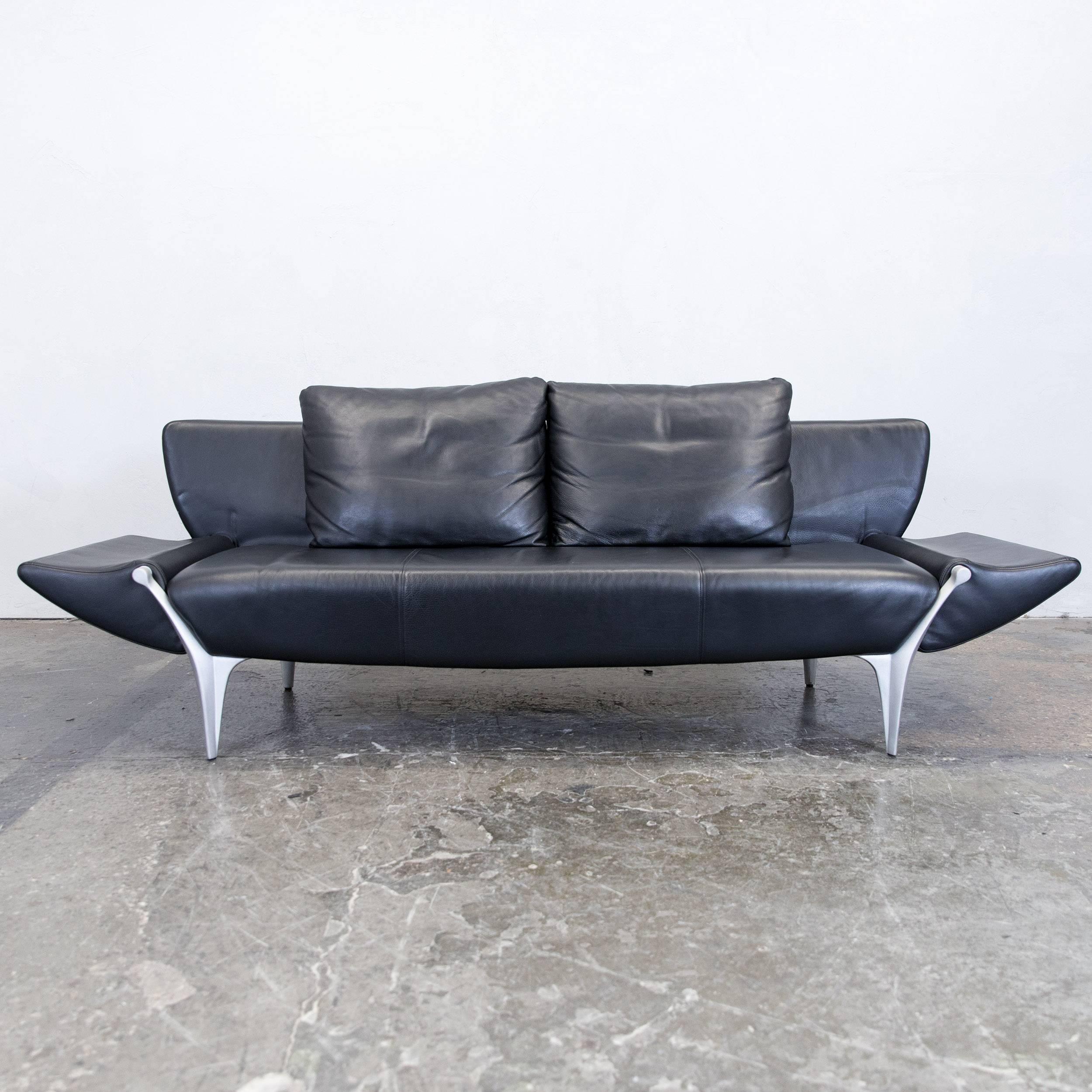 Rolf Benz SOB 1600 Designer Sofa Leather Black Three-Seat Function ...
