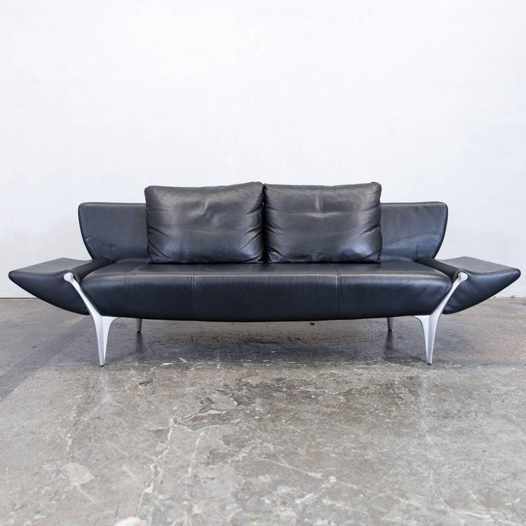 Sofa design gebraucht  Rolf Benz SOB 1600 Designer Sofa Leather Black Three-Seat Function ...
