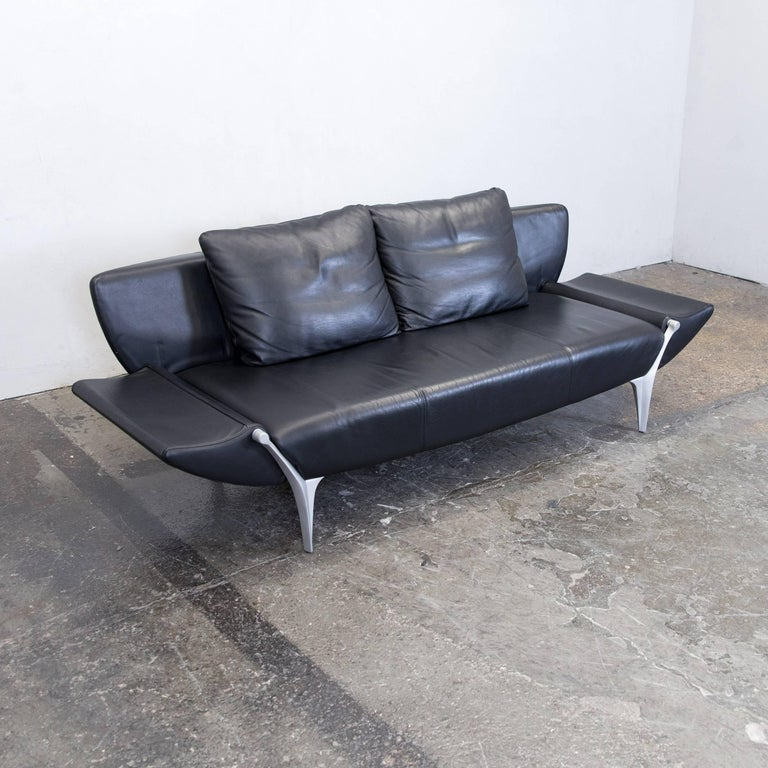 Rolf Benz SOB 1600 Designer Sofa Leather Black Three Seat