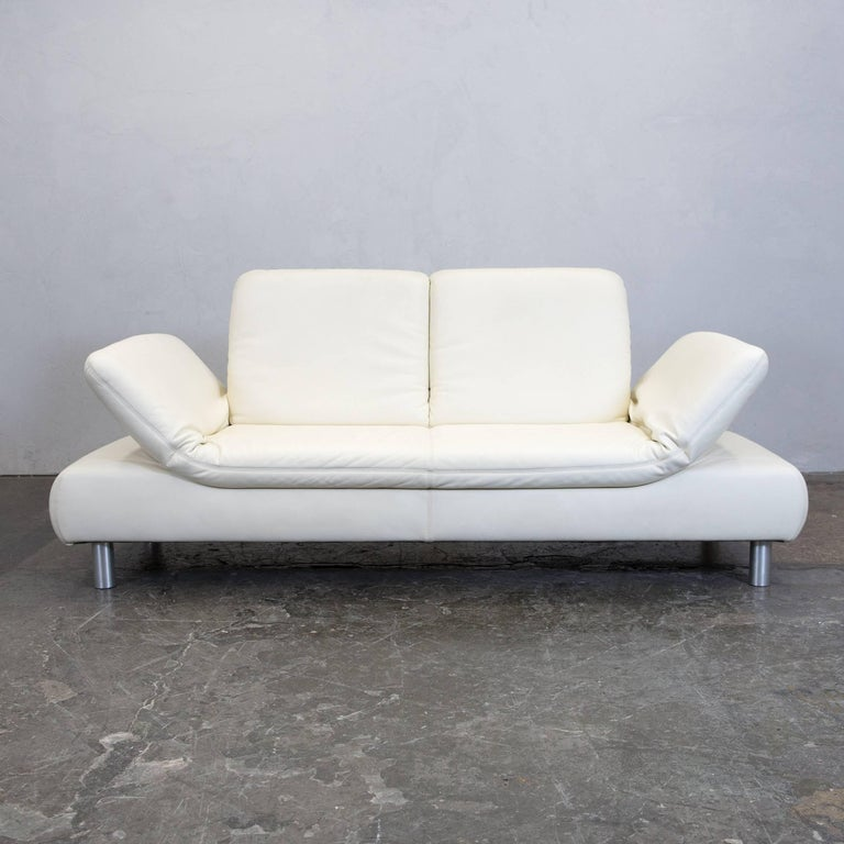 Ledersofa creme  Koinor Designer Sofa, Crème Beige Couch Leather Metal For Sale at ...
