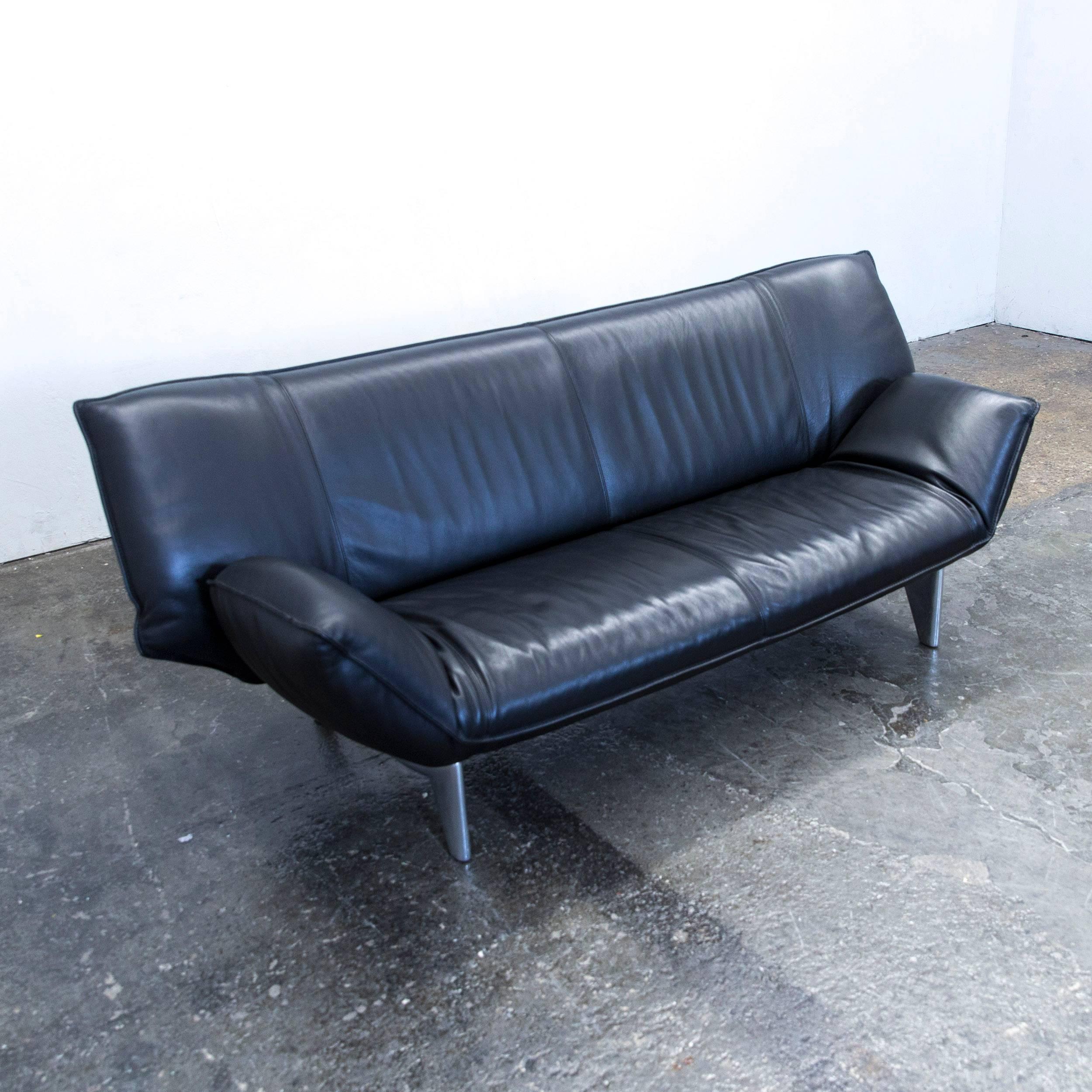 Leolux Tango Designer Leather Sofa Black Two Seat Function Modern
