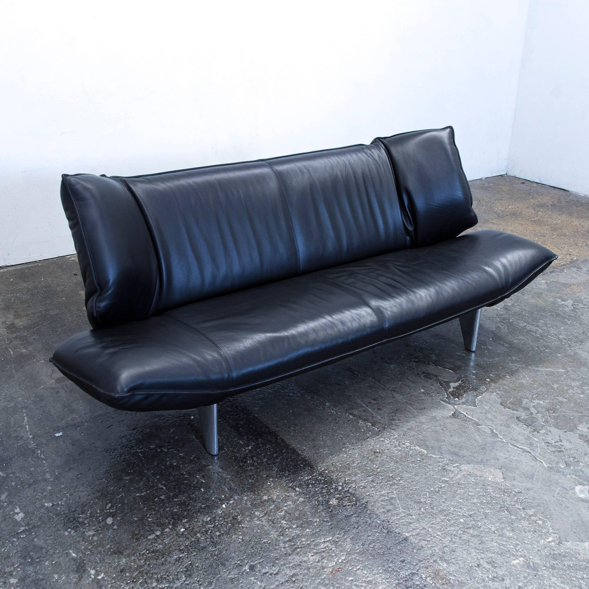 German Leolux Tango Designer Leather Sofa Black Two Seat Function Modern  For Sale