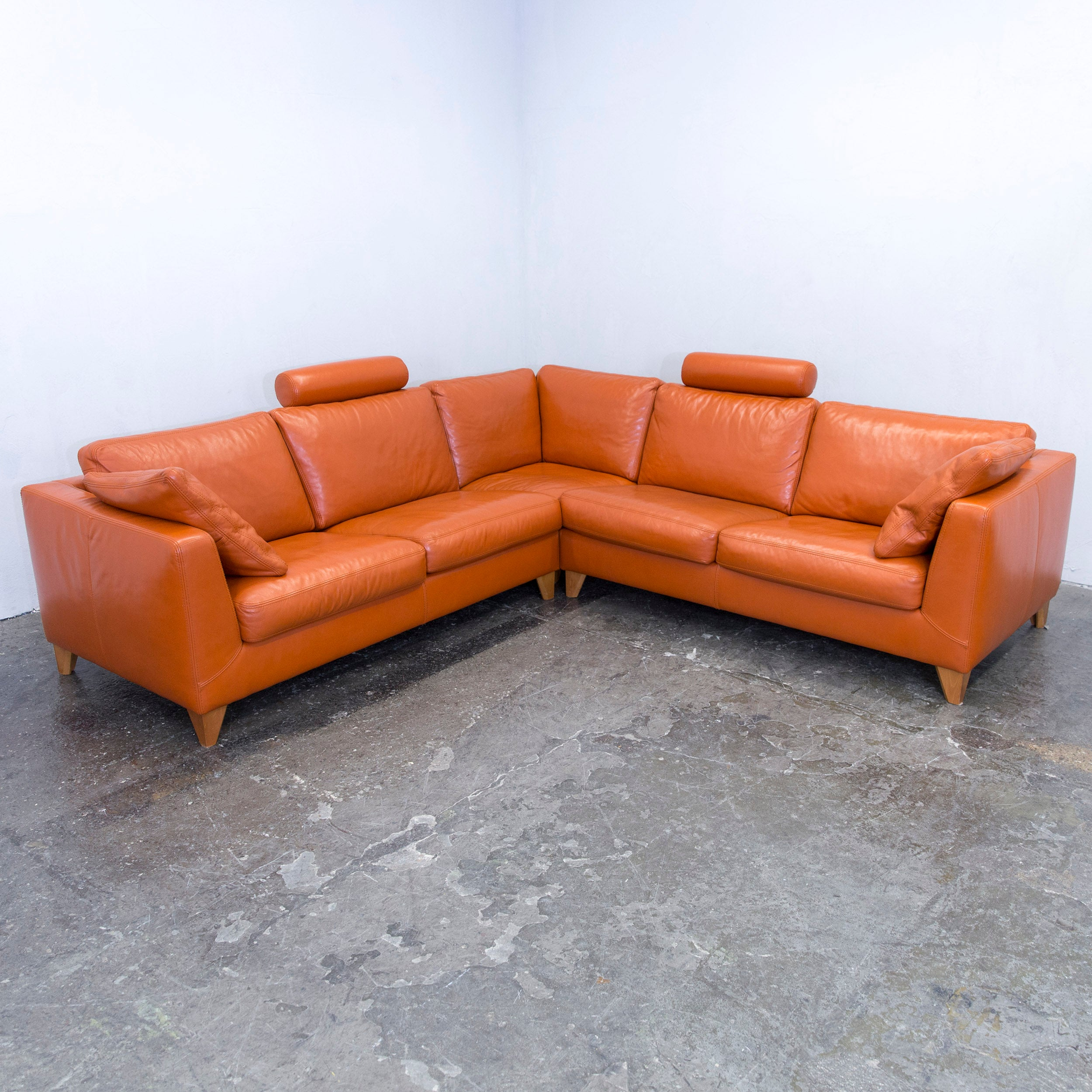 Sofa Leder Cognac machalke designer cornersofa set leather cognac orange function