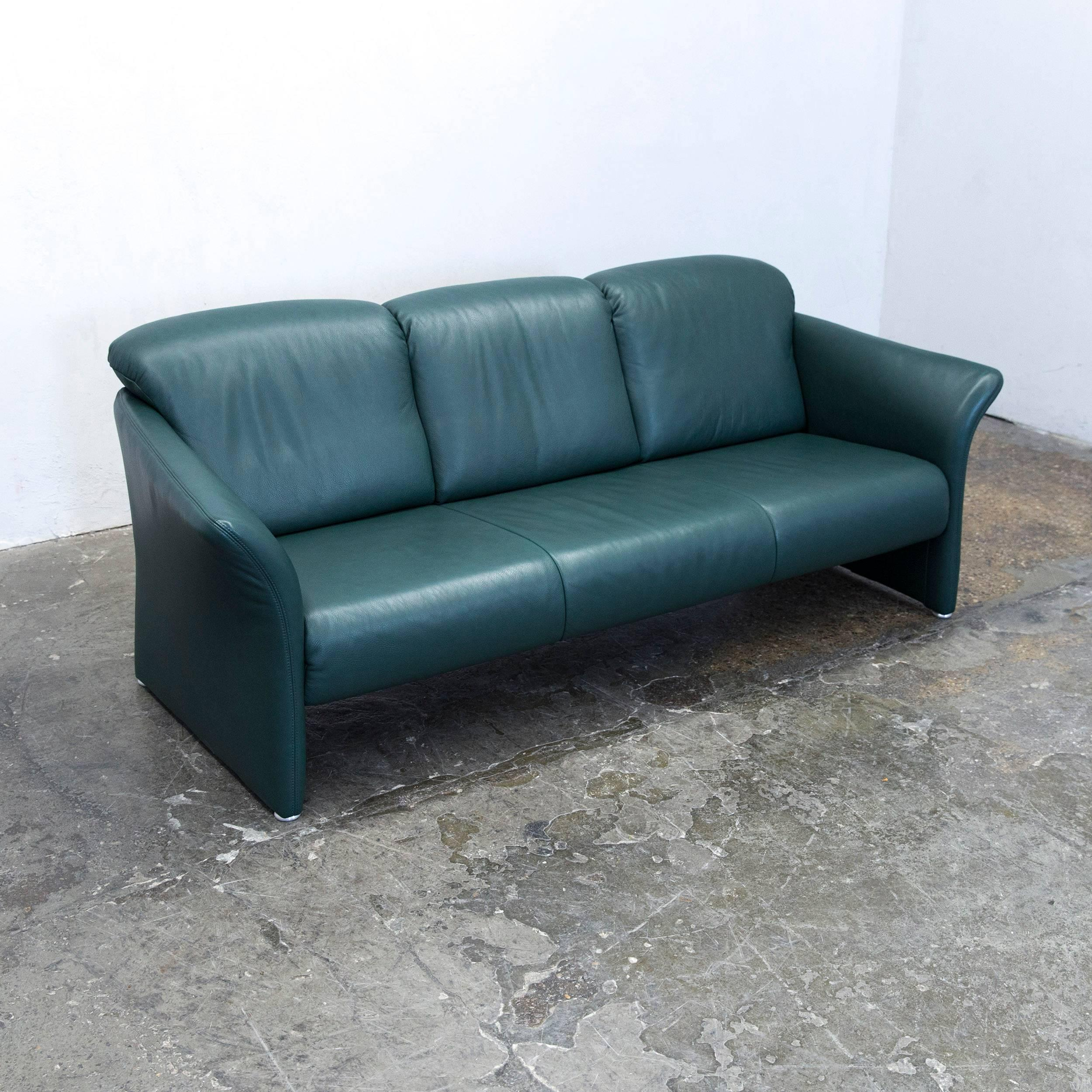 German Koinor Designer Sofa Set Leather Green Three Seat Couch Modern For  Sale Nice Look
