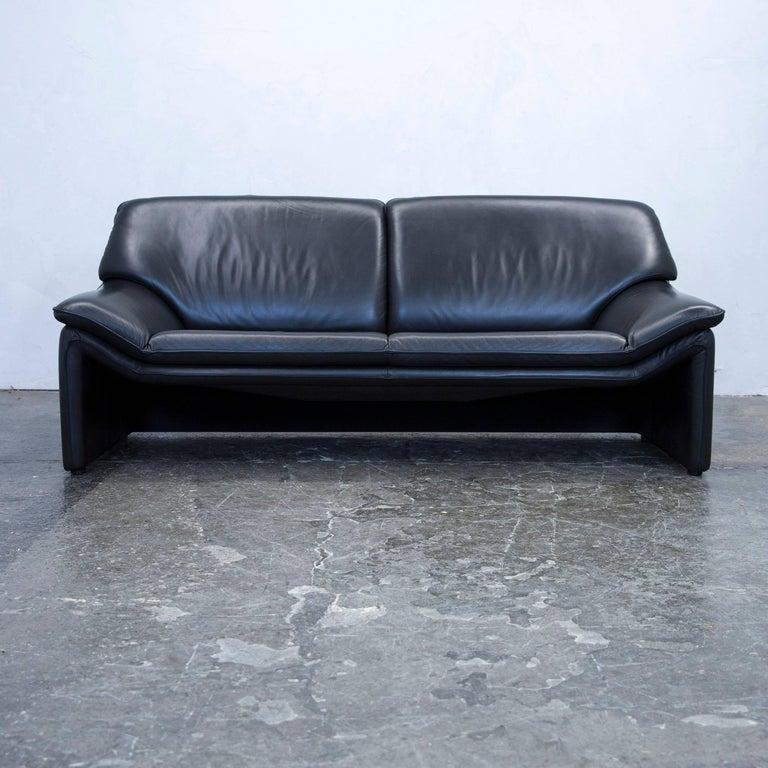 Laauser Atlanta Designer Sofa Set Leather Black Three-Seat Couch Modern