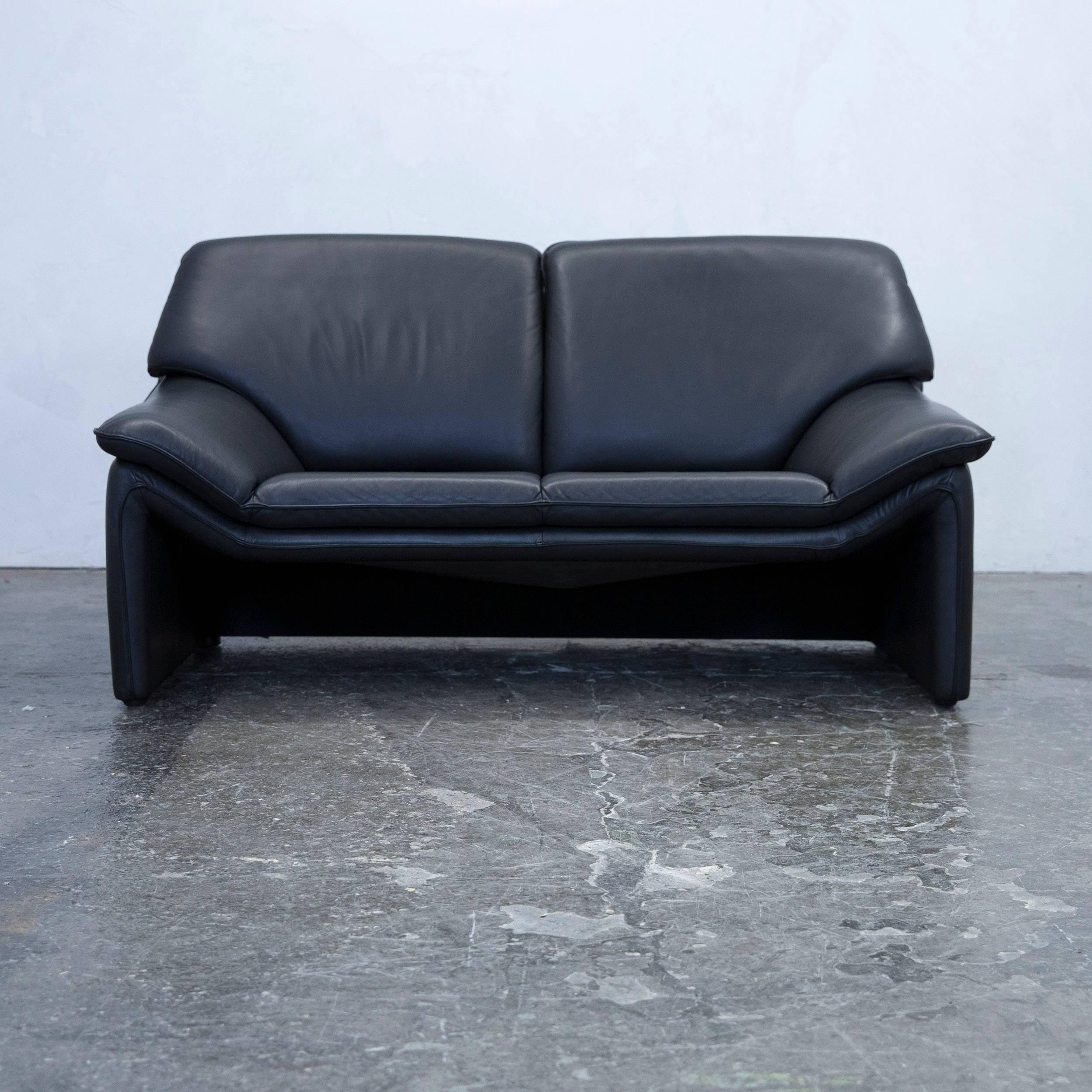 Laauser Atlanta Designer Sofa Set Leather Black Three Seat Couch Modern At  1stdibs
