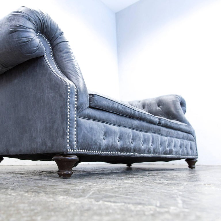 Chesterfield Sofa Set Alcantara Microfibre Fabric Grey ...