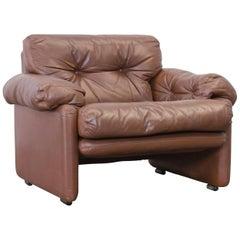 C&B Italia Coronado Fine Leather Armchair by Tobia Scarpa Couch Brown