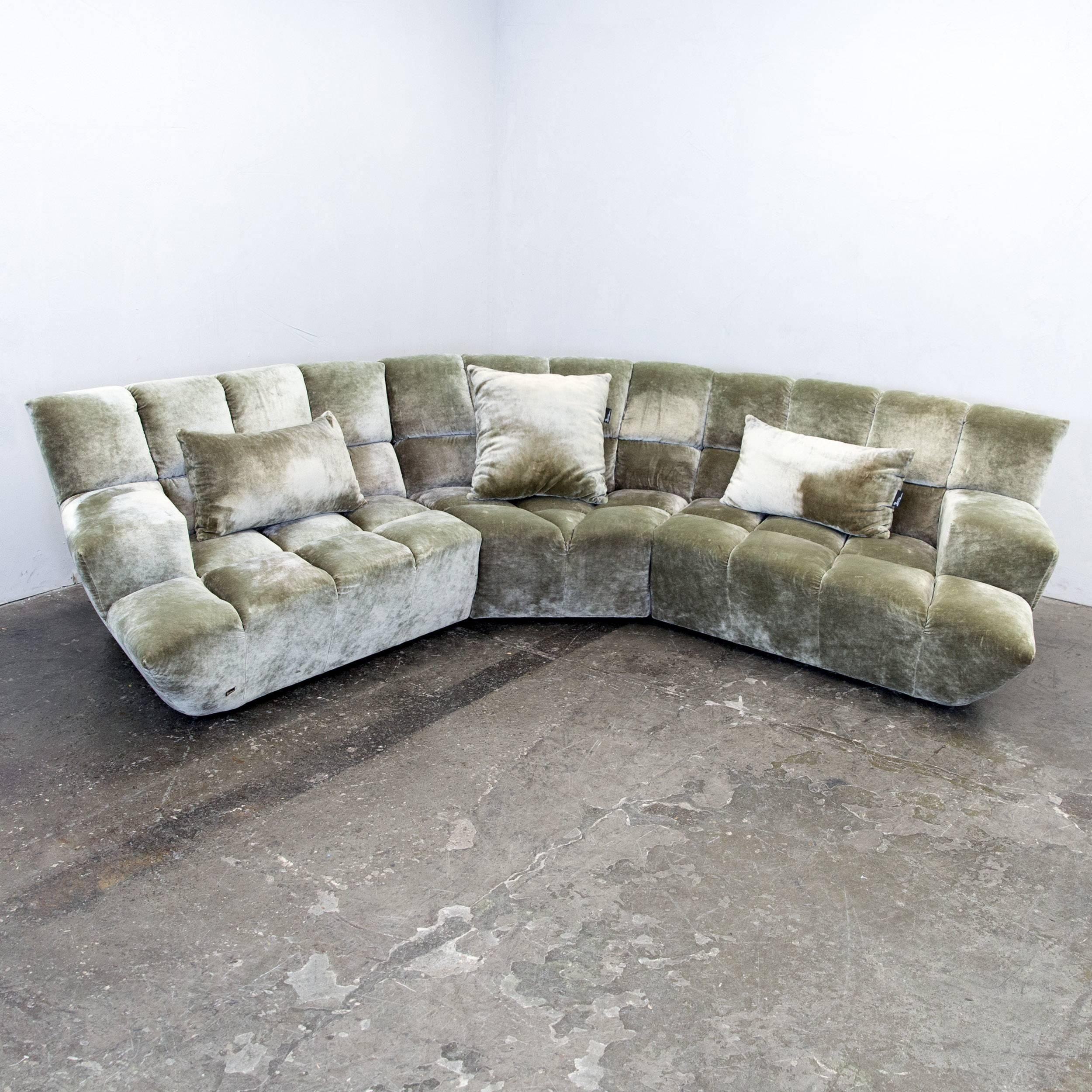 Fesselnd Bretz Cloud 7 Designer Cornersofa Silver Green Fabric Couch Modern At  1stdibs