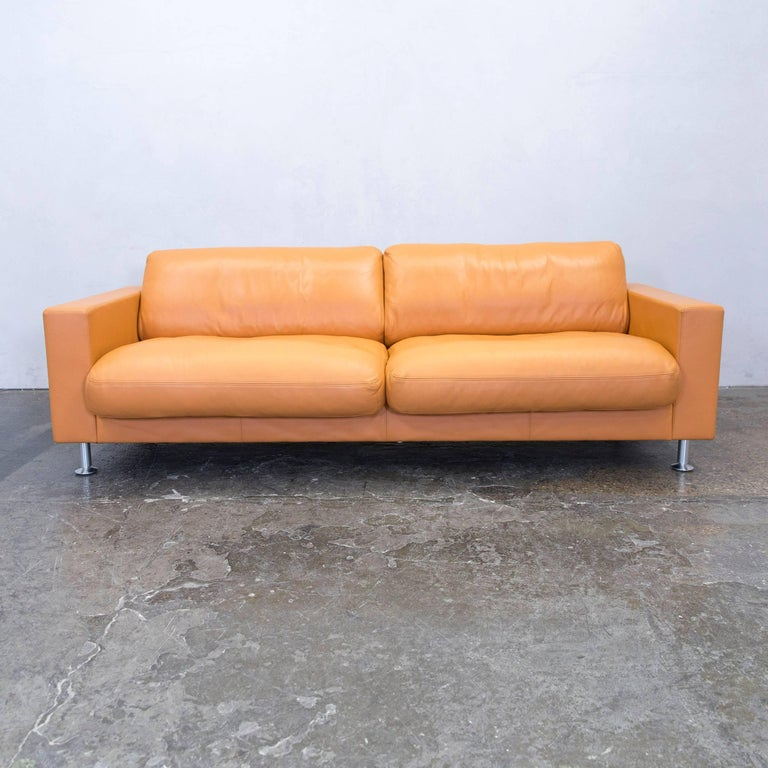 Rolf Benz Basix Designer Sofa Orange Three Seat Couch Modern At 1stdibs