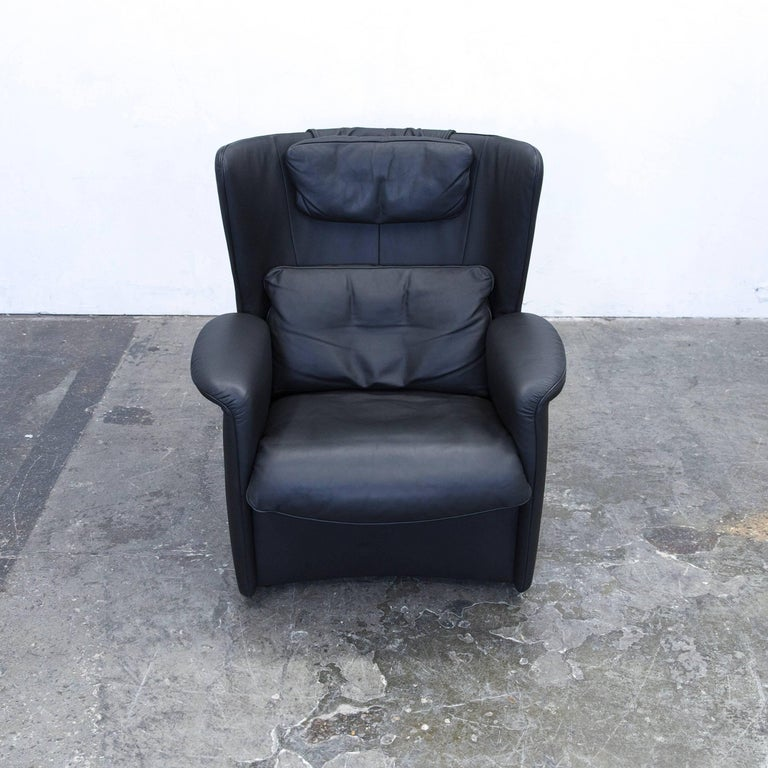 De Sede Ds 23 Designer Armchair Set Leather Black One-Seat Couch Modern In Good Condition For Sale In Cologne, DE