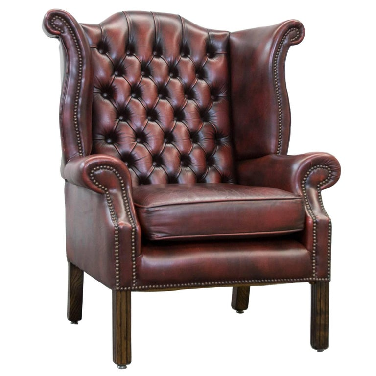 Red Leather Wingback Chair For Sale: Chesterfield Leather Wingchair In Oxblood Red, One Seat
