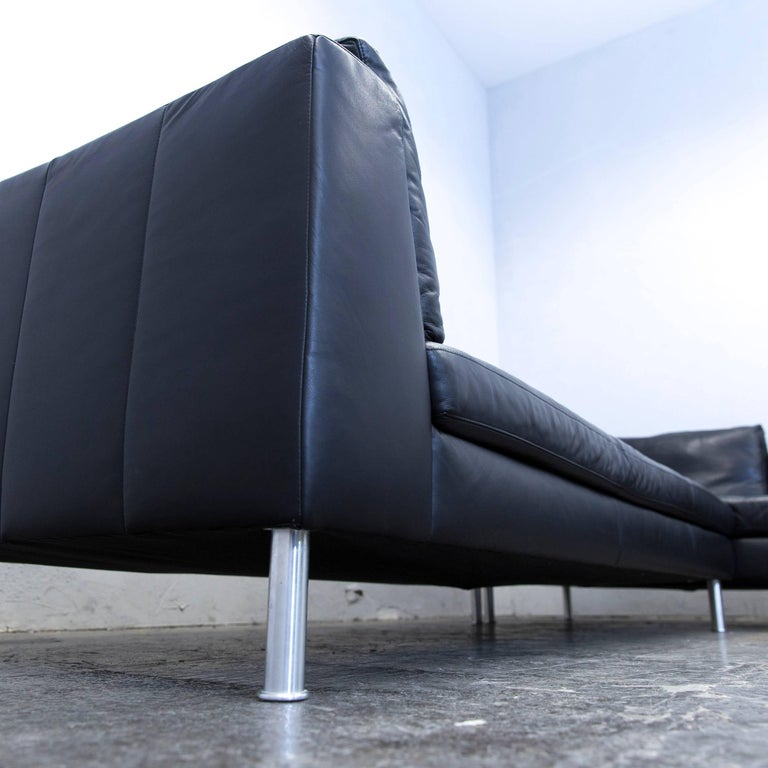 ewald schillig designer corner sofa leather black couch modern for sale at 1stdibs. Black Bedroom Furniture Sets. Home Design Ideas