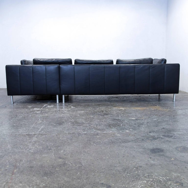 ewald schillig designer corner sofa leather black couch modern for sale at 1stdibs. Black Bedroom Furniture Sets. Home Design Ideas