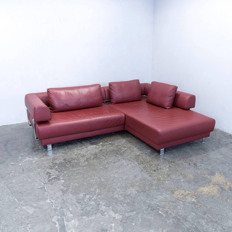 ewald schillig brand face designer corner sofa leather red couch modern at 1stdibs. Black Bedroom Furniture Sets. Home Design Ideas