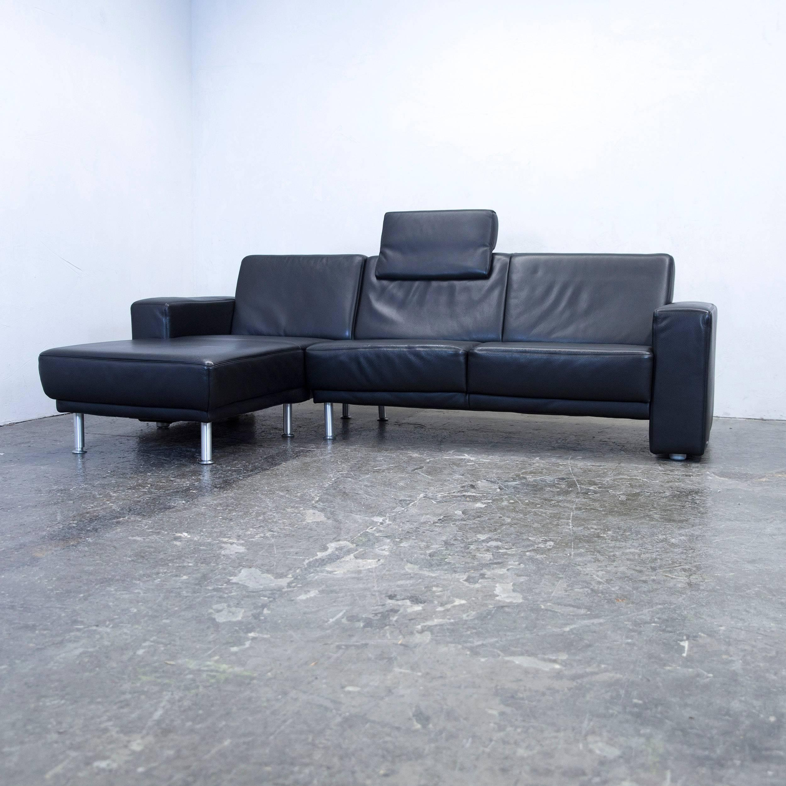 Koinor Designer Corner Sofa Set Leather Black Couch Modern 2