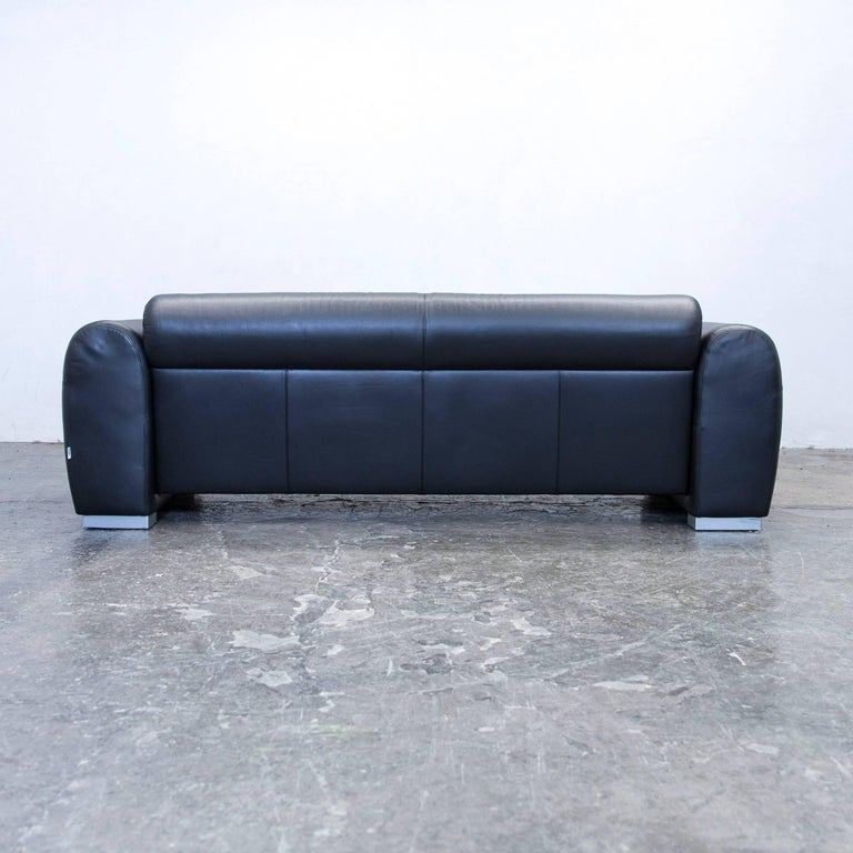 br hl and sippold sumo designer sofa leather black three seat couch modern for sale at 1stdibs. Black Bedroom Furniture Sets. Home Design Ideas