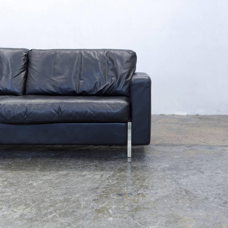 Designer Sofa Leather Black Three Seat Couch Modern Acrylic Glass At