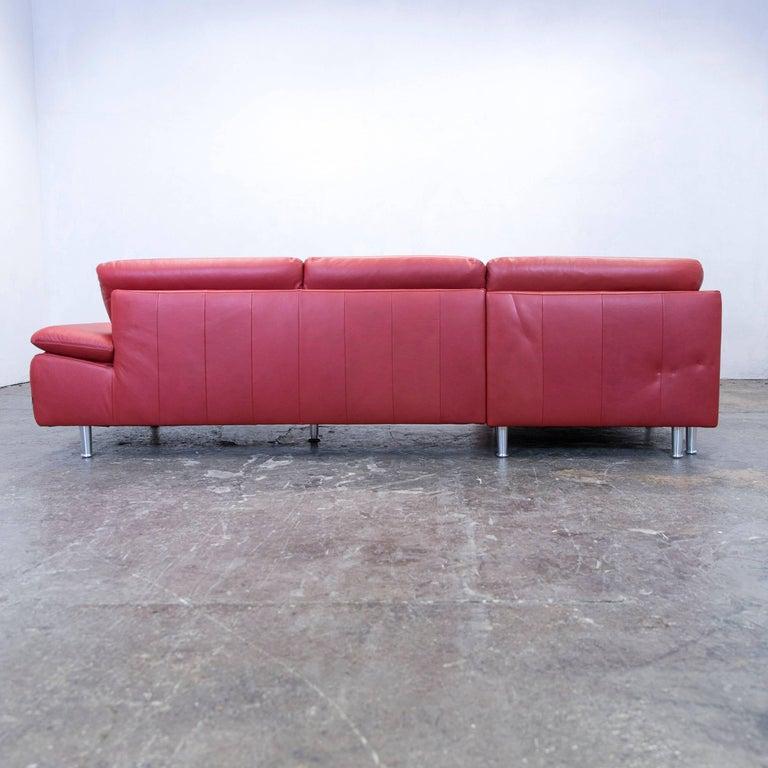 willi schillig loop designer corner sofa leather red couch modern for sale at 1stdibs