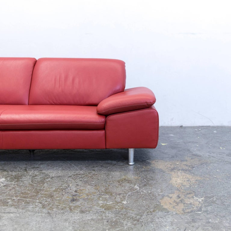willi schillig loop designer corner sofa leather red couch modern for sale at 1stdibs. Black Bedroom Furniture Sets. Home Design Ideas