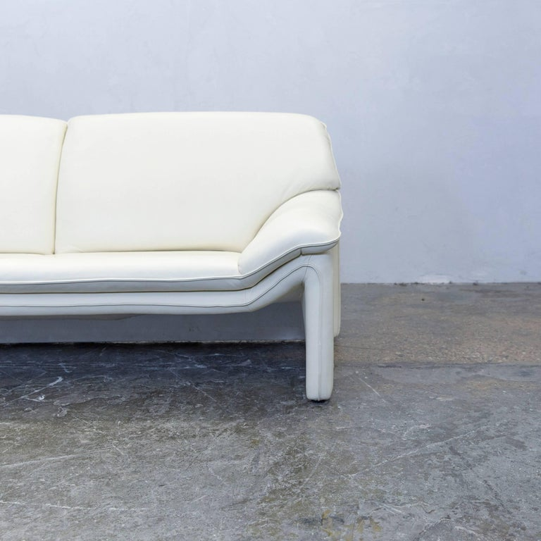 Laauser Atlanta Designer Sofa Leather Crème Two-Seat Couch