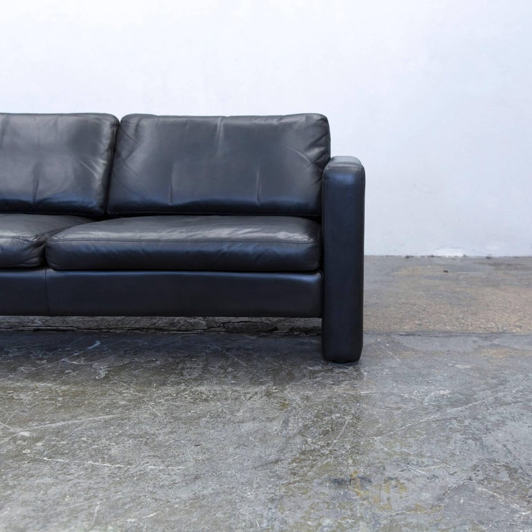 German Cor Designer Sofa Leather Black Two Seat Couch Modern For