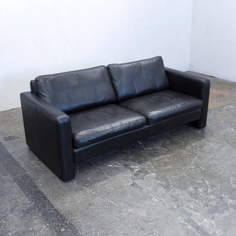Cor Designer Sofa Leather Black Two Seat Couch Modern At 1stdibs