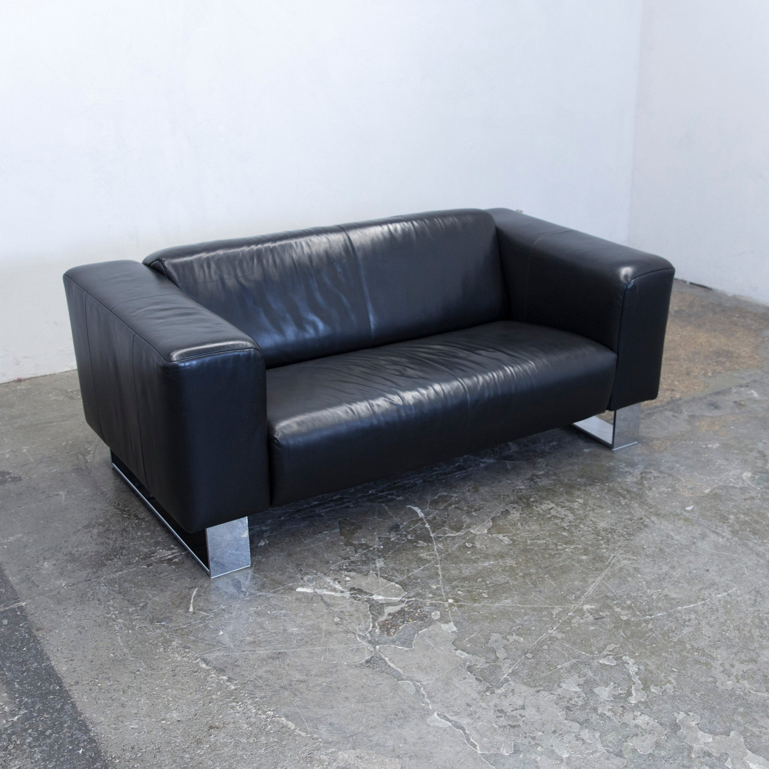 GroB Rolf Benz Bmp Designer Sofa Leather Black Two Seat Couch Modern At 1stdibs
