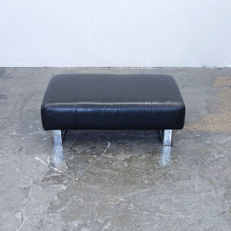 rolf benz bmp designer footstool leather black one seat couch at 1stdibs. Black Bedroom Furniture Sets. Home Design Ideas