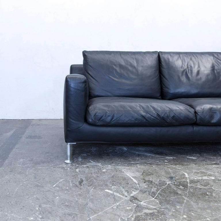 black colored original bb italia harry designer leather sofa in a minimalistic and modern design - Modern Sofa Kaufen