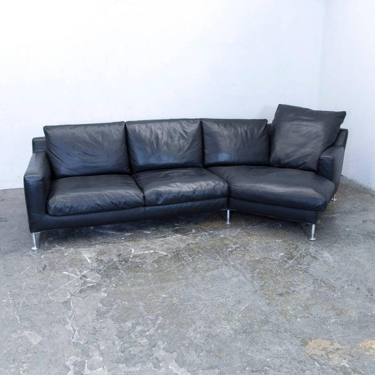 B&B Italia Harry Designer Corner Sofa Leather Black Couch Modern
