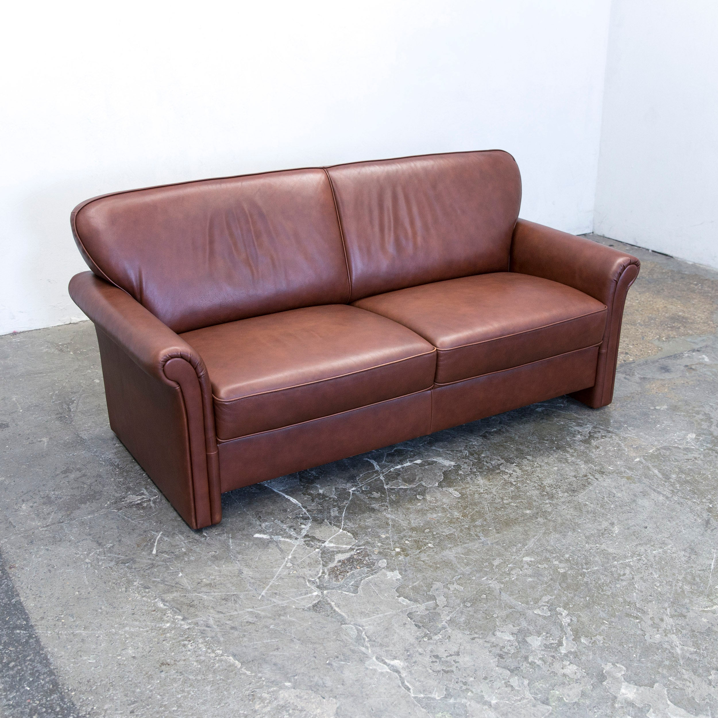 Designer Sofa Leder gepade akad or designer sofa leather brown two seat modern at