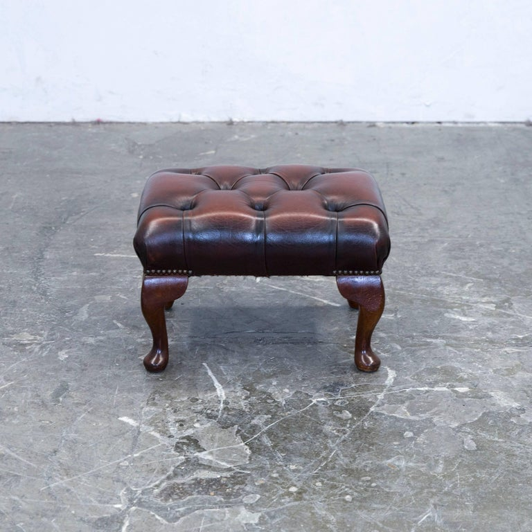 Chesterfield Footstool Leather Brown One Seat Couch