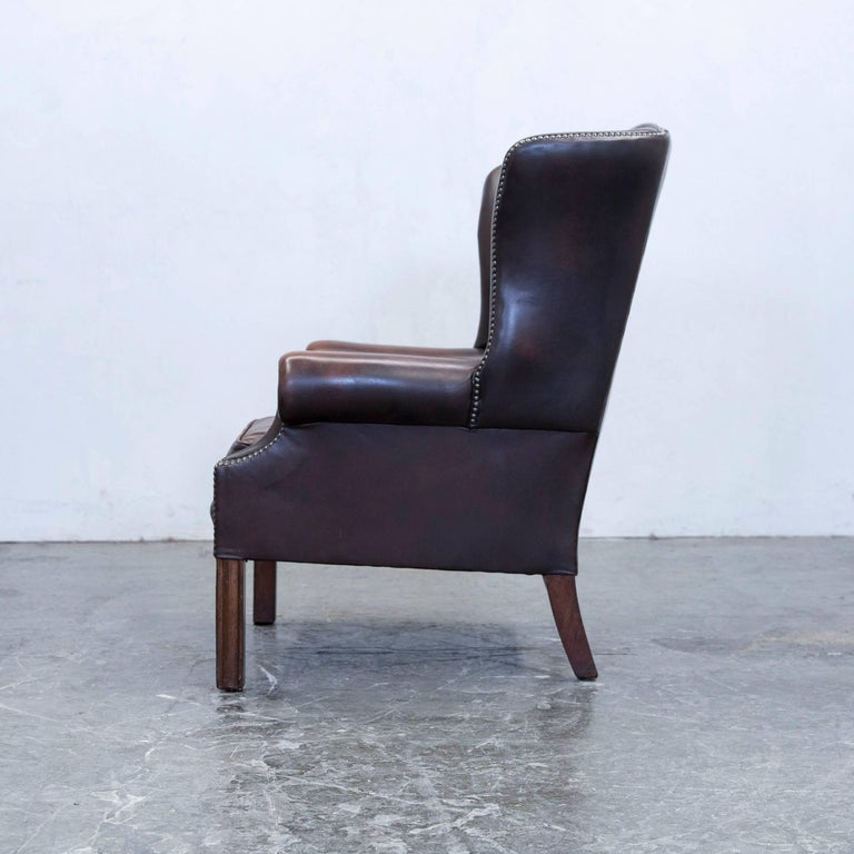 chesterfield armchair set leather brown one seat couch. Black Bedroom Furniture Sets. Home Design Ideas