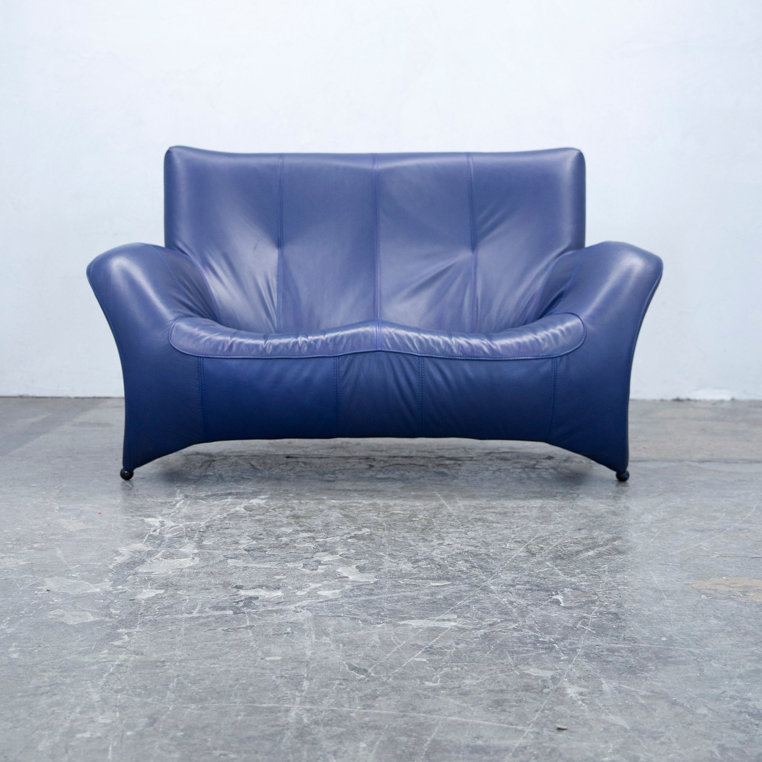 Designer Sofa Leather Blue Two Seat Couch Modern at 1stdibs