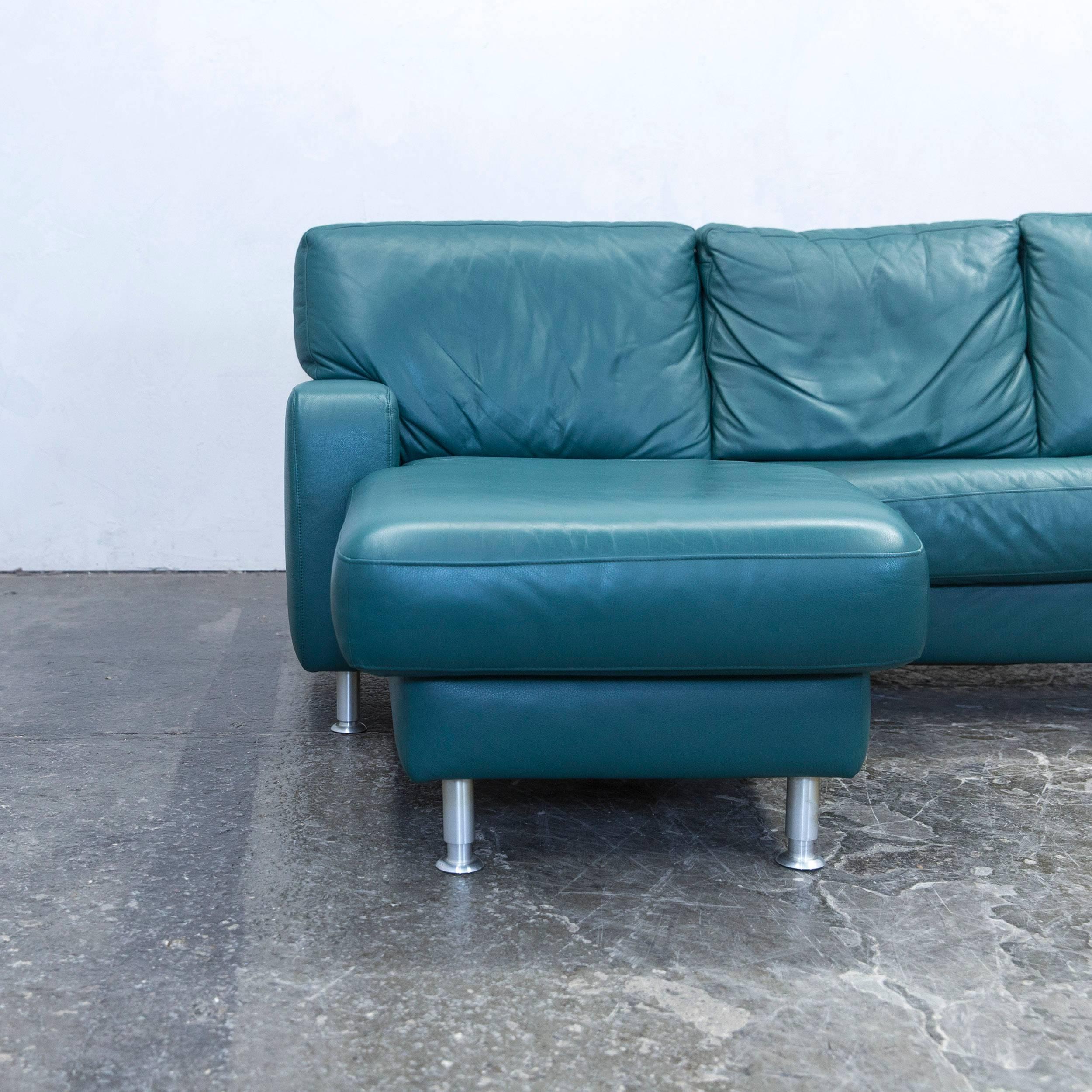 German Koinor Designer Corner Sofa Leather Green Couch Modern For Sale