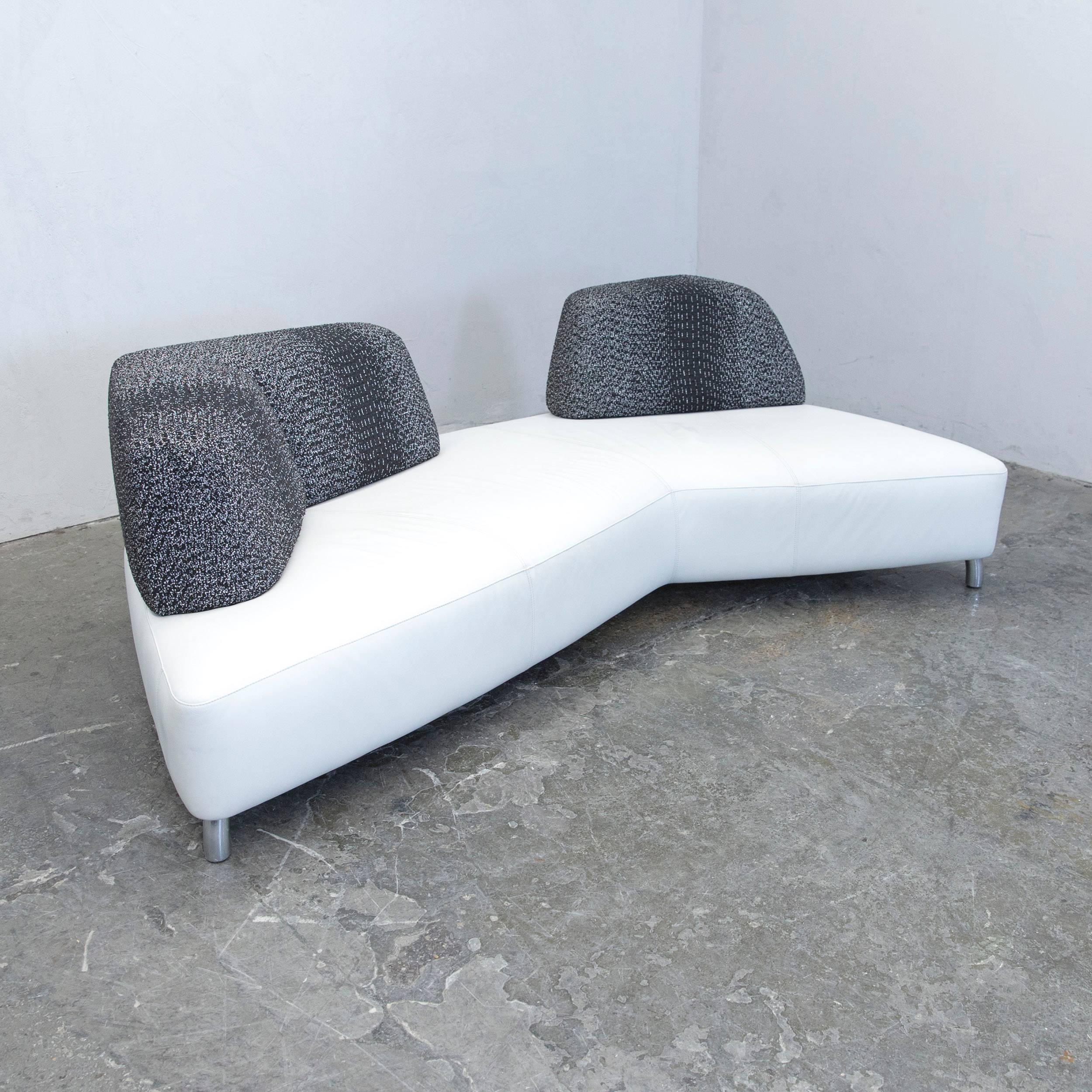 German Leolux Designer Sofa Set Leather White Black Couch Modern For Sale