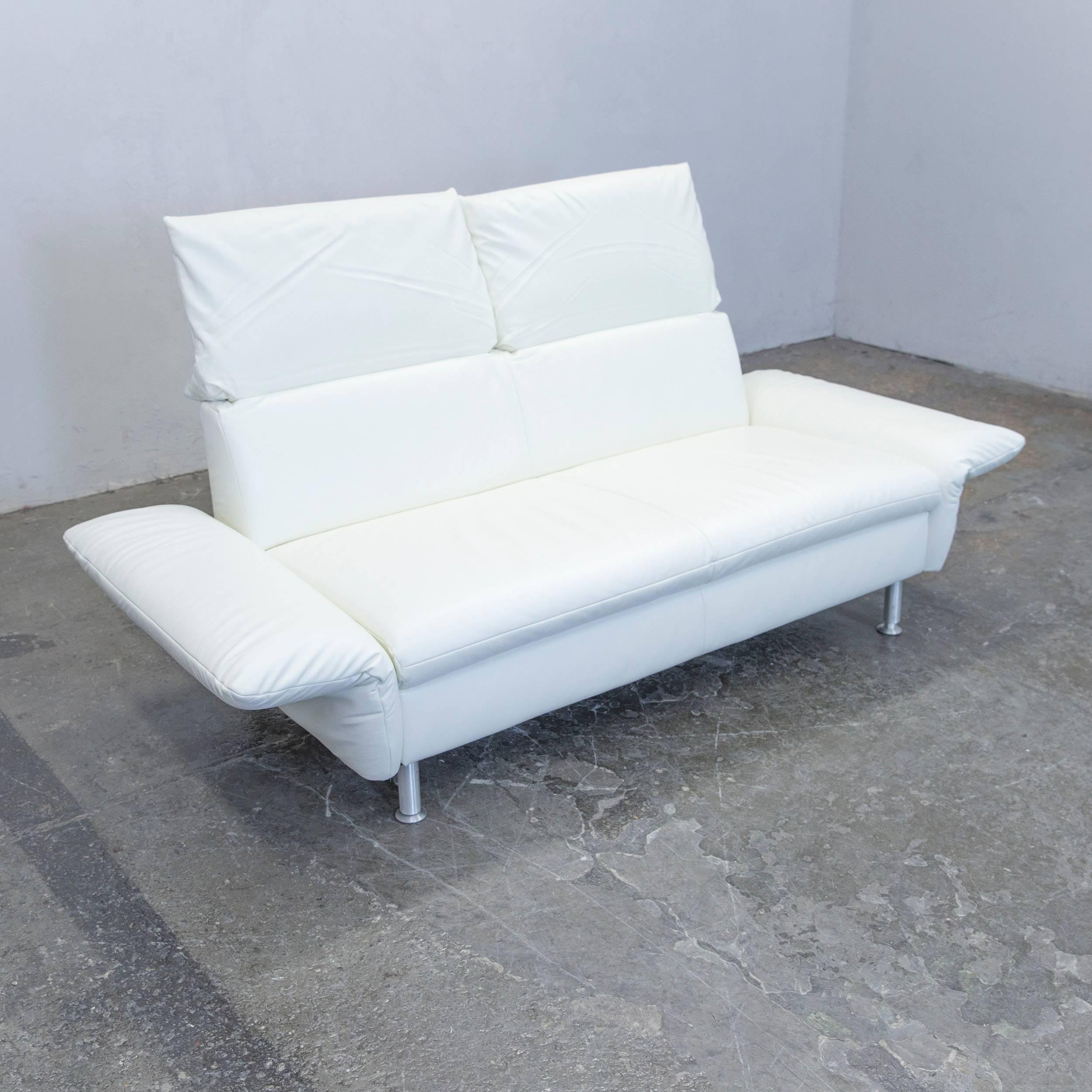 German Koinor Vista Designer Sofa Leather White Two Seat Couch Modern For  Sale
