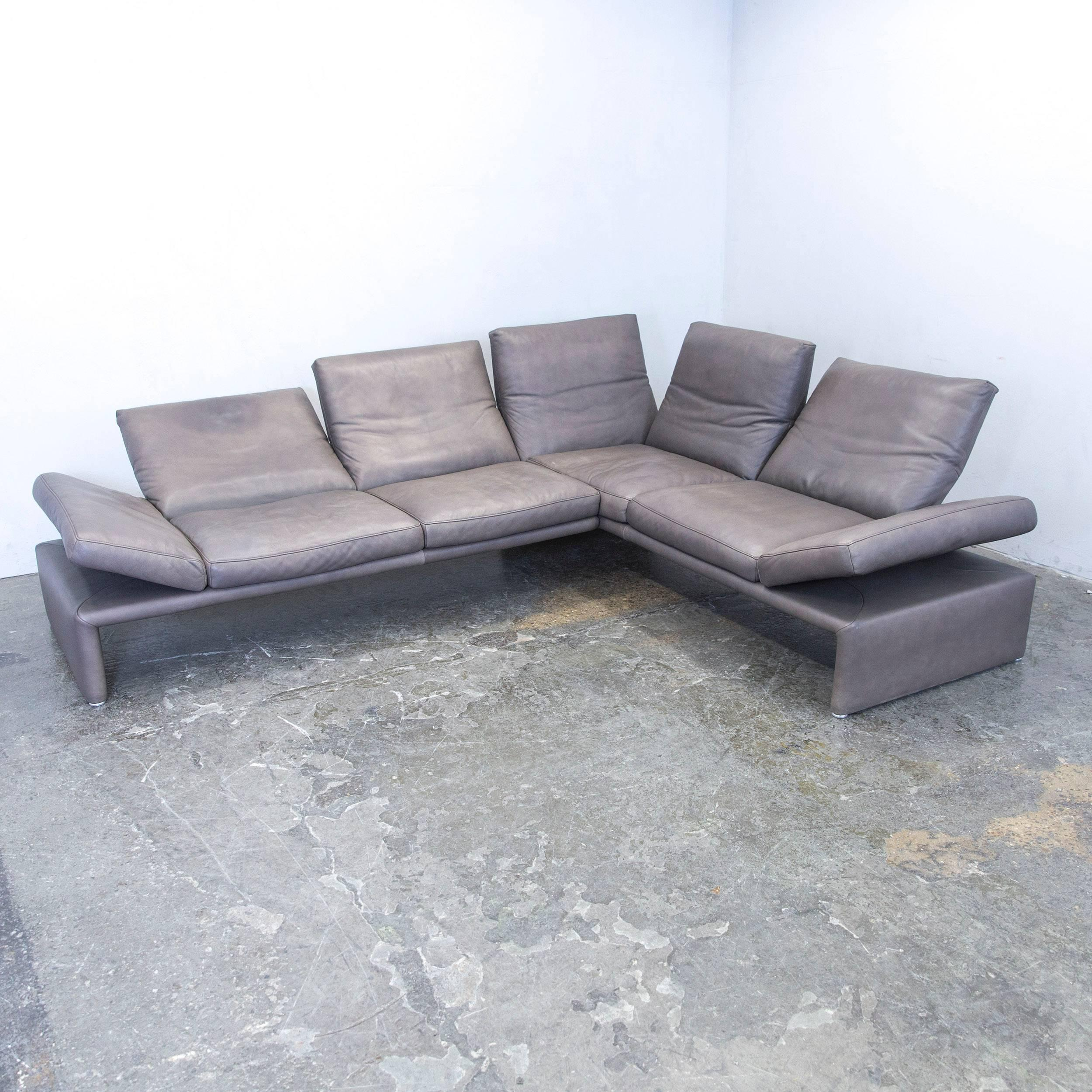 Brown Colored Original Koinor Raoul Designer Leather Sofa, In A  Minimalistic And Modern Design,