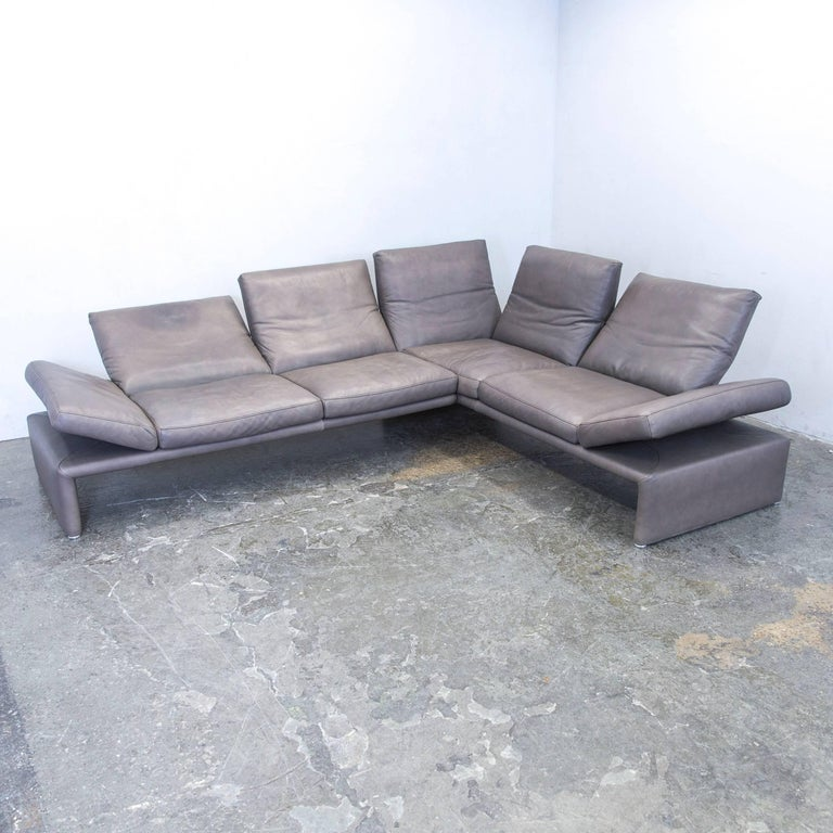 Koinor raoul designer corner sofa set leather brown for Funktions ecksofa