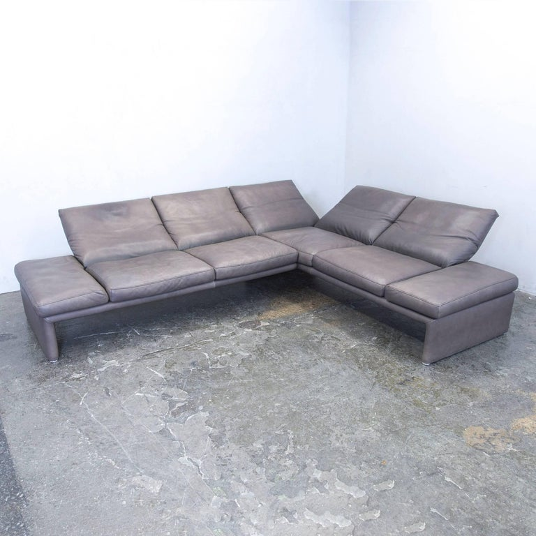 koinor raoul designer corner sofa set leather brown function couch modern at 1stdibs. Black Bedroom Furniture Sets. Home Design Ideas