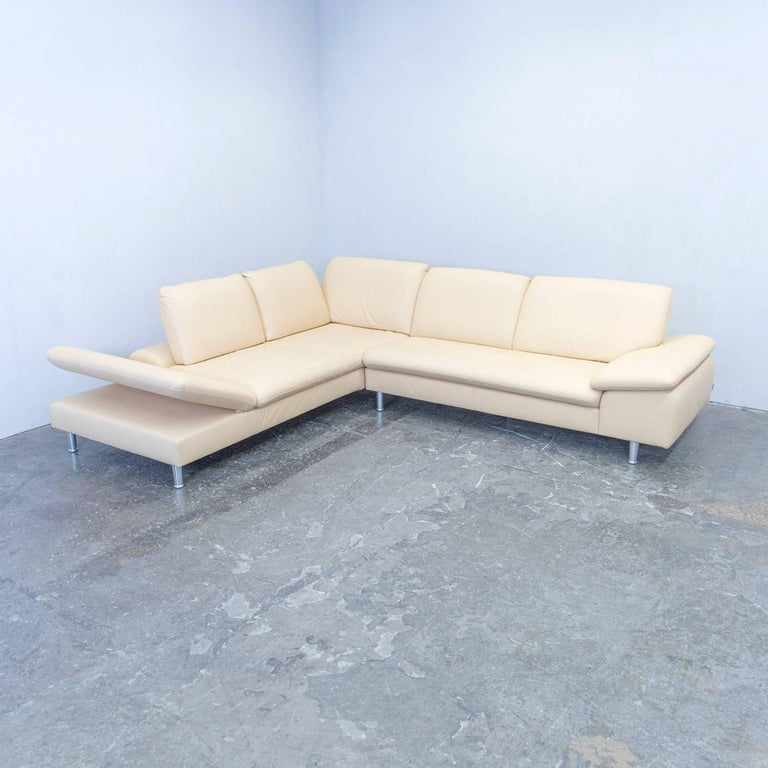 Willi schillig loop designer corner sofa leather beige for Funktions ecksofa