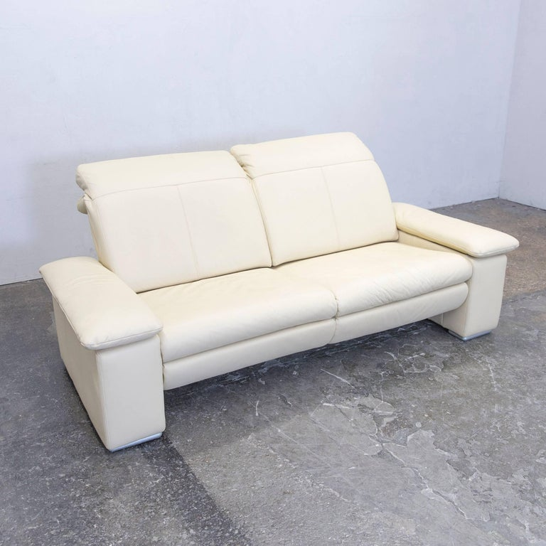 Musterring Designer Sofa Leather Beige Three-Seat Couch Modern at ...