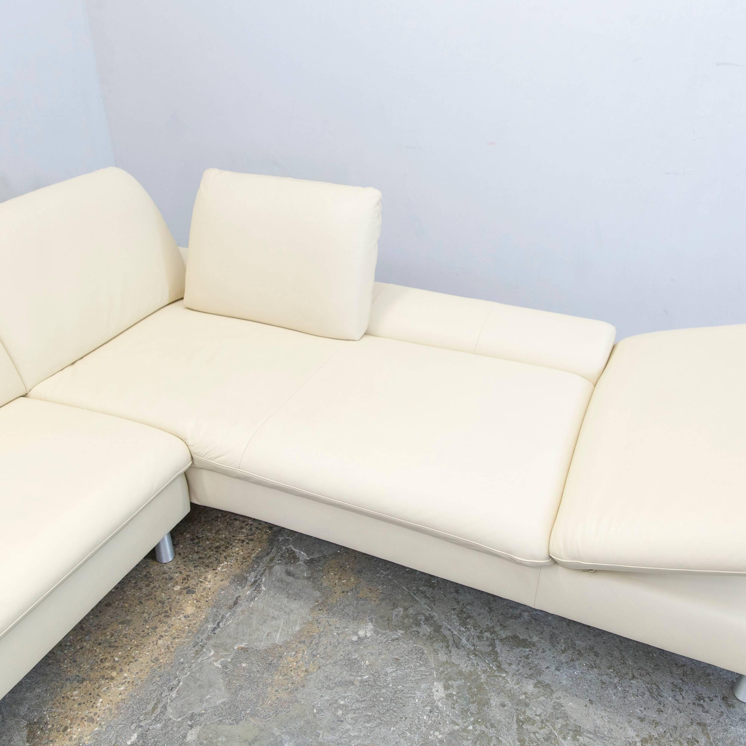German Willi Schillig Loop Designer Corner Sofa Set Leather Beige Function  Couch Modern For Sale