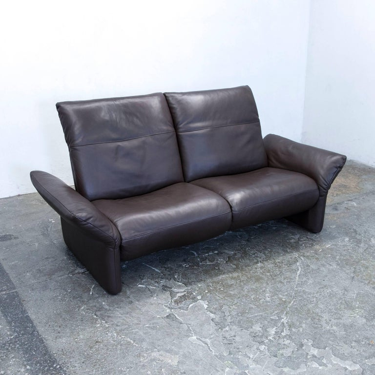 Designer couch  Koinor Elena Designer Sofa Leather Brown Two-Seat Couch Function ...