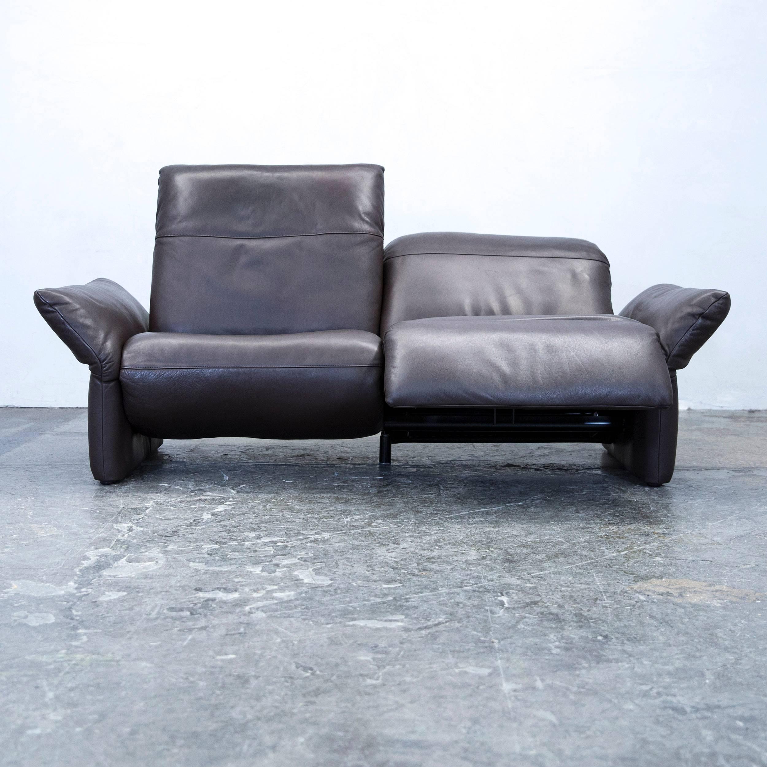 Brown Colored Original Koinor Elena Designer Leather Sofa Set, In A  Minimalistic And Modern Design
