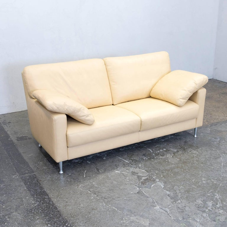 musterring designer leather sofa beige two seat couch. Black Bedroom Furniture Sets. Home Design Ideas