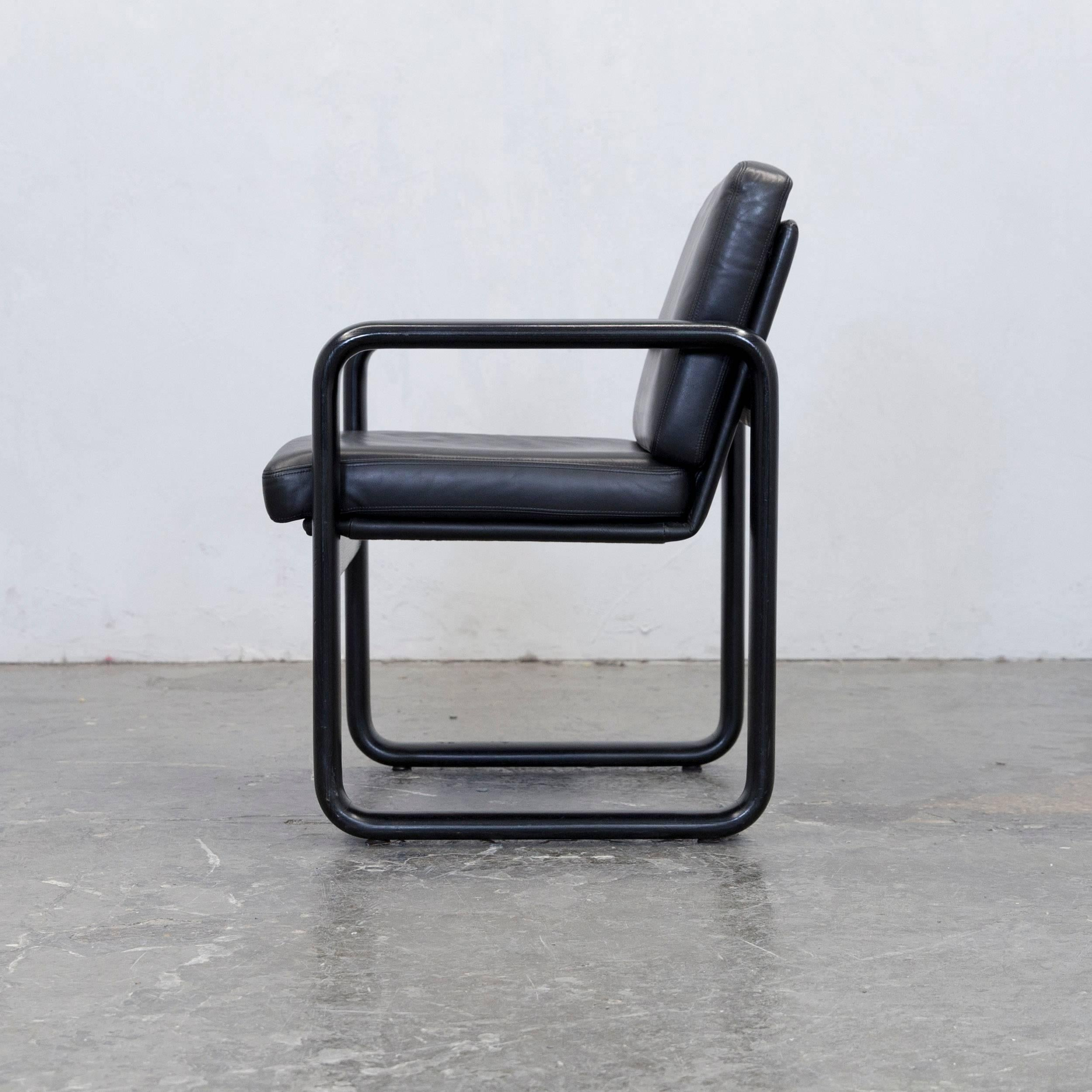 Rosenthal Studio Line Designer Leather Chair Black One Seat Wood Vintage At  1stdibs