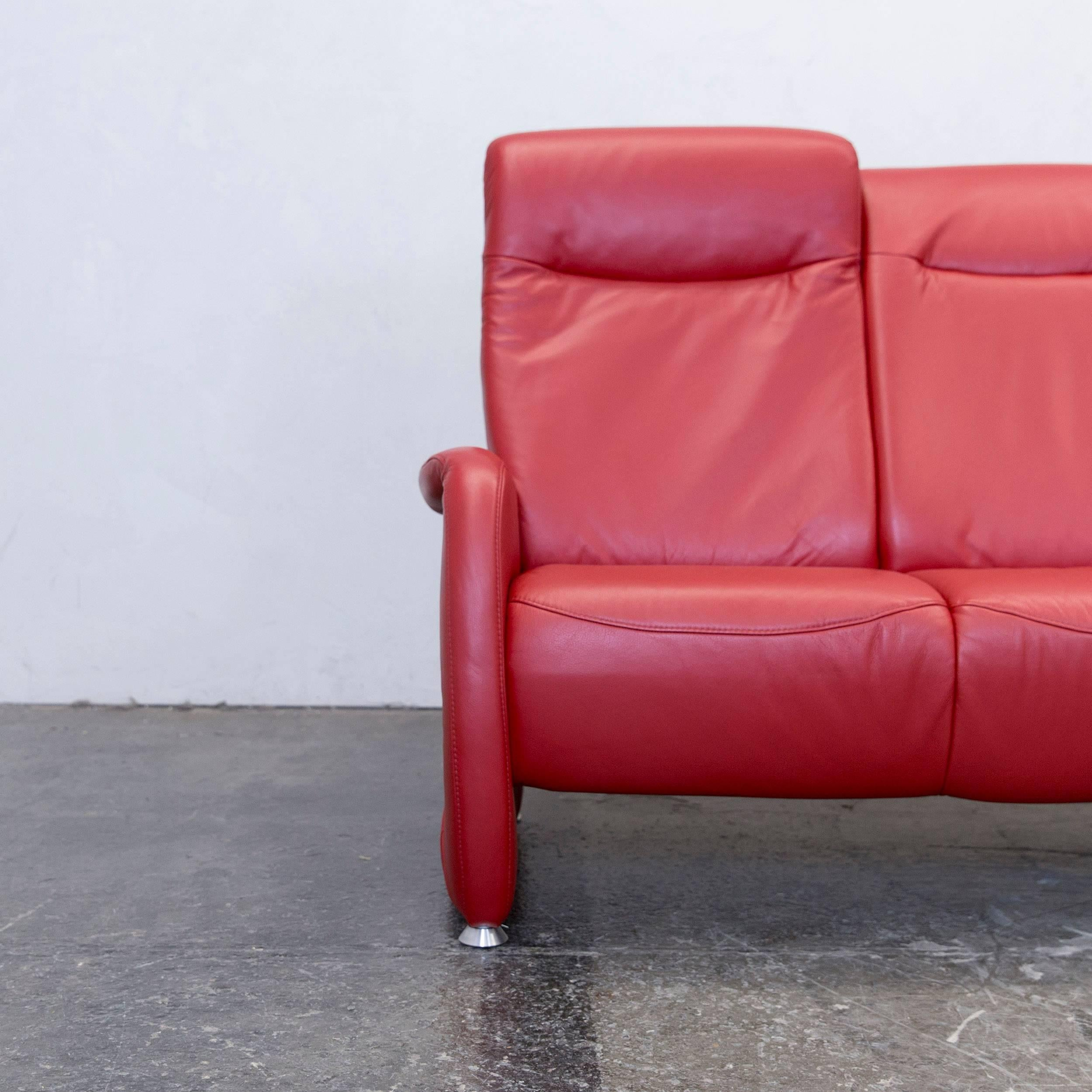 Stunning Excellent Ewald Schillig Designer Threeseat Couch Leather Red Couch  Modern With Couch Schillig With Sofa Dreisitzer