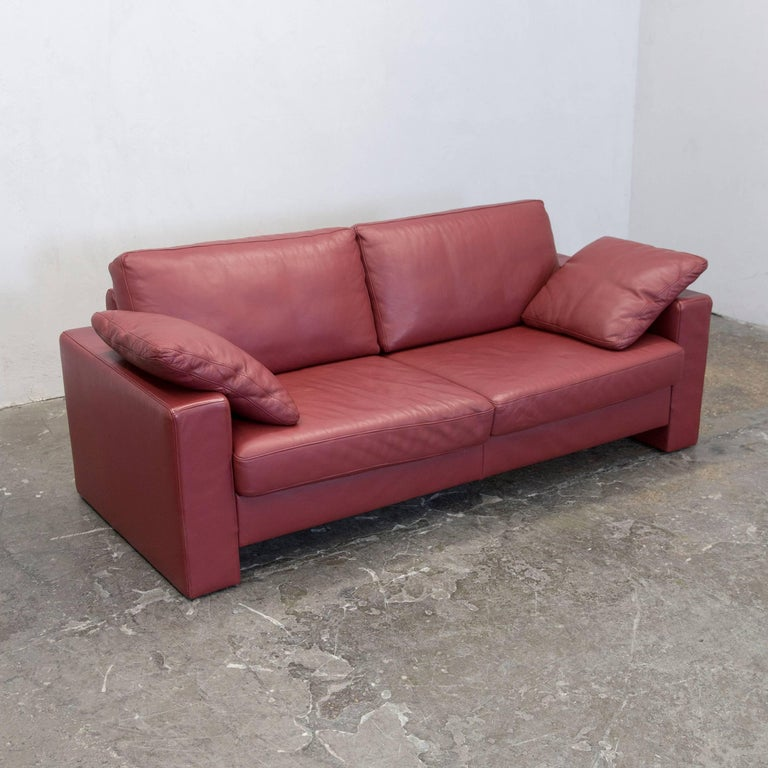 ewald schillig designer two seat couch leather red couch modern at 1stdibs. Black Bedroom Furniture Sets. Home Design Ideas
